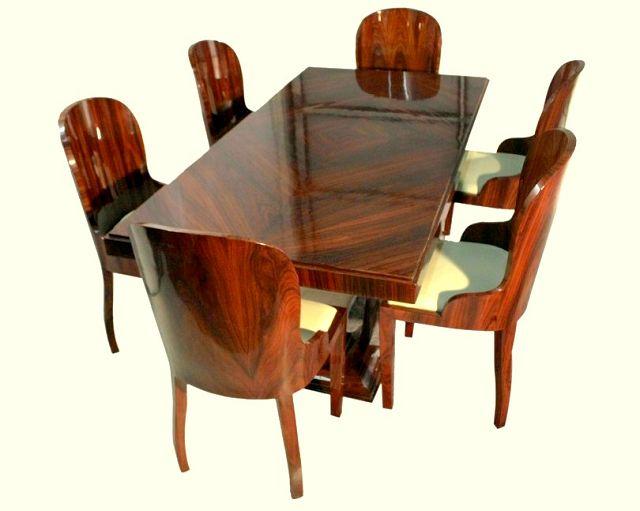 esstisch 6 st hle art deco nachbau die kunst und antiquit tenb rse. Black Bedroom Furniture Sets. Home Design Ideas