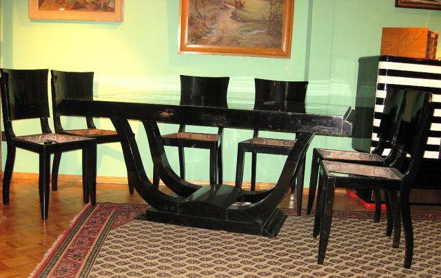 esstisch 6 st hle art deco paris 1925 die kunst und. Black Bedroom Furniture Sets. Home Design Ideas
